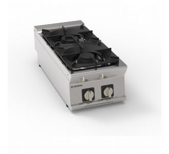 Tecnoinox 313001 - 2 Burners Gas Boiling Top with Cast Iron Grids -14,5Kw-40x90x28cm