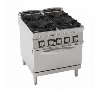 Tecnoinox 313027 - 4 Burners Gas Range with GN2/1 Gas Oven - 80x90x90 cm