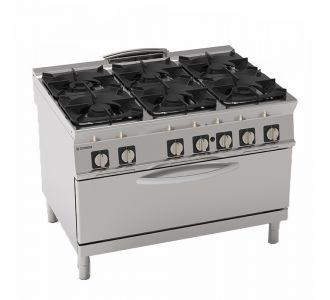 Tecnoinox 313036 - 6 Burners Gas Boiling Top on Full Size with Gas Static Oven - 120x90x90 cm