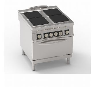 Tecnoinox 316037 - 4 square ermetic hot plates electric boiling top on GN 2/1 electric static oven - 80x90x90 cm