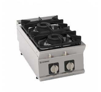 """Tecnoinox 713002 - 2 Burners Gas """"Super"""" Boiling Top with Cast Iron Grids Top - 40x70x28 cm"""