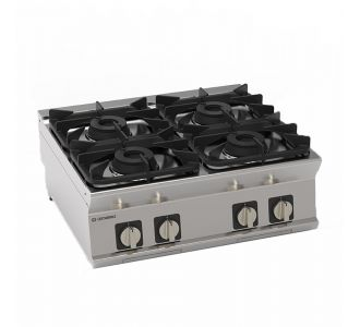"""Tecnoinox 713004 - 4 Burners """"Super"""" Gas Boiling Top with Cast Iron Grids Top - 80x70x28 cm"""