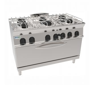 Tecnoinox 713067 - 6 Burners Gas Boiling Top with Gas Static Oven - 120x70x90 Cm