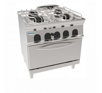 Tecnoinox 713073 - 4 Burners Gas Boiling top on GN2/1 Gas static oven with 1 grid - 26,5Kw-80x70x90cm