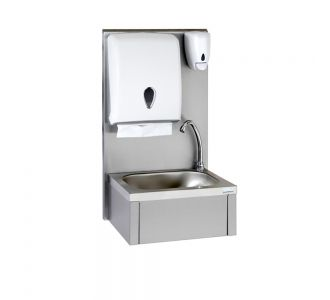 Tournus 806385 Hand Wash Basin With Back Splash ,Soap and Paper Towel Dispensers - Knee operated