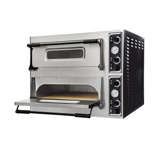 Prismafood Basic 44 - Professional Electric Oven - Double Deck - 4 + 4 Pizzas ø 32 Cm - 230 V - 9.4 Kw