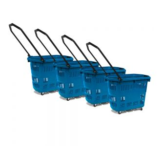 Joalpe Set of 4  Dance Fifty Five 55Lit  Blue  Plastic Grocery Market Shopping Basket With 2  Wheels And 2 Swivels Wheels