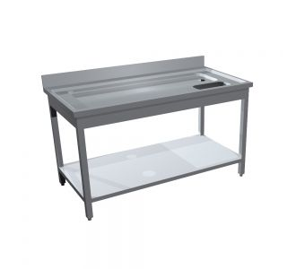 TOMADO STAINLESS STEEL MEAT FISH SINK WITH 1 UNDER SHELF - 140Wx70Dx90H/ Cm