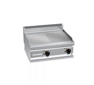 Berto's G7FM8B-2 Counter Gas Griddle Half Smooth and Half Ribbed Plate-13.8Kw-80x70x29cm