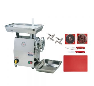 CGT 32 MEC, 500 Kg/h Meat Mincer With 2 Blades, 1 Plate 32/3, 1 Plate 32/8 2 Sico Butcher Knife Set and 50x40x2cm red cutting board For Free