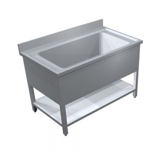 TOMADO STAINLESS STEEL POT WASH WITH 1 UNDER SHELF - 120Wx70Dx90H/ Cm