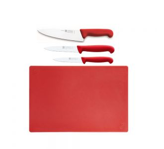 Sico 3 pieces Meat knives with Red Cutting Board 60x40x2 cm